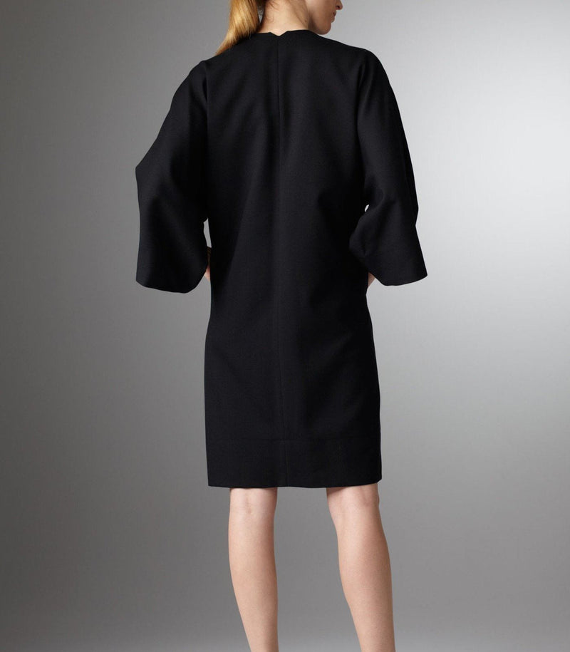 Back view of model in Black Kimono Style Dress - Darby Scott