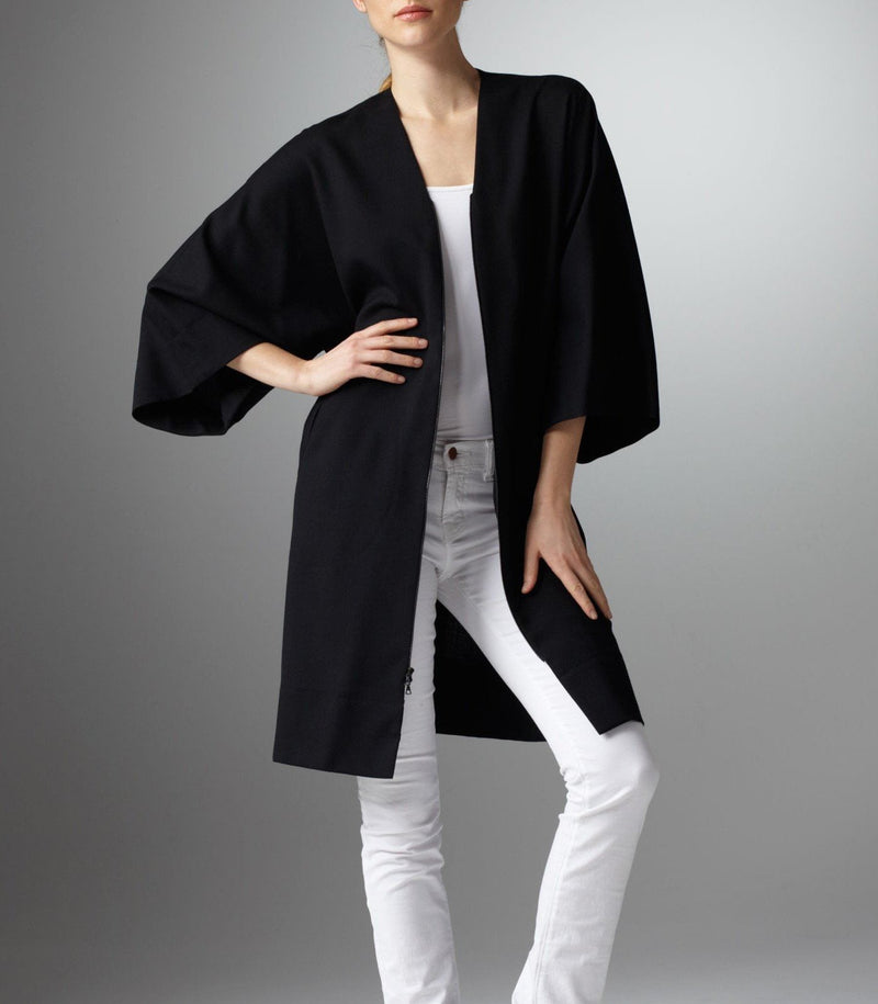 model in Black Kimono Style Dress worn open over white top - Darby Scott