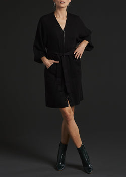 Model in Black Barathea Wool Kimono Style Dress - Darby Scott