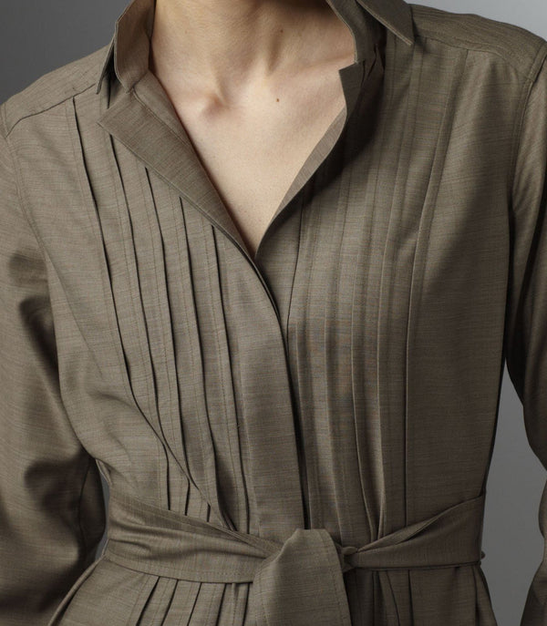 Detail of front pin tucks on Taupe Cool Wool Shirt Dress - Darby Scott--alternate