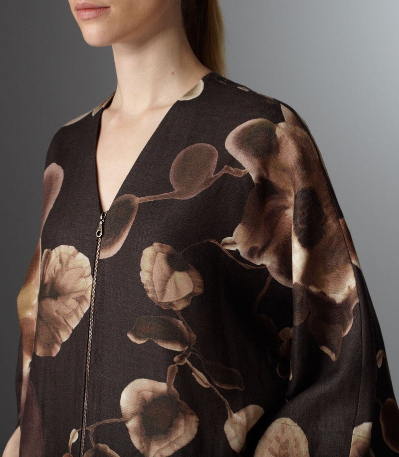 Close up view bodice of Brown Floral Kimono Style Dress - Darby Scott