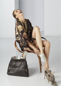 Model in Brown Floral Kimono Style Dress with Boston Tote - Darby Scott