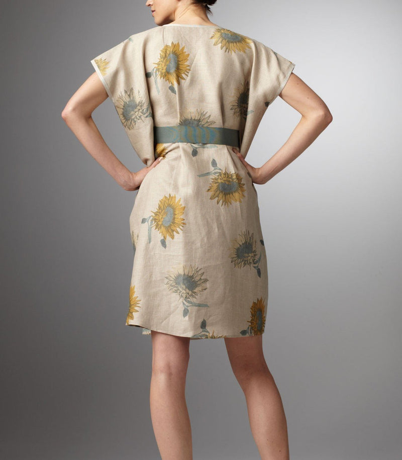Back view Beige and blue sunflower print caftan style pull-over dress - Darby Scott