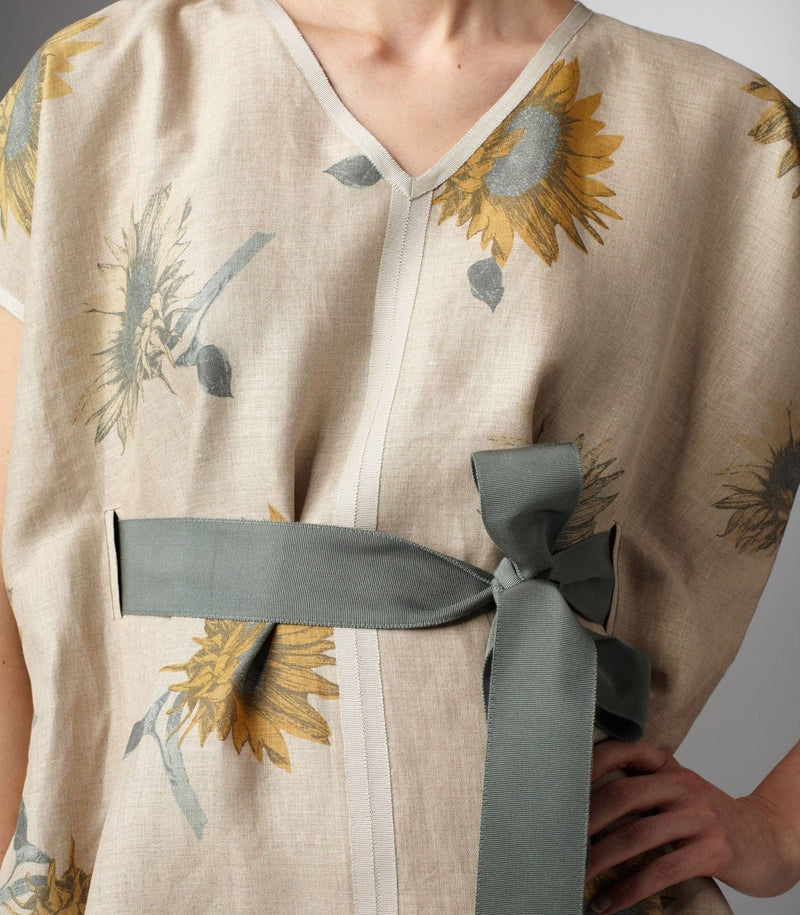 Close up view Grosgrain Ribbon Belt with beige and sunflower dress - Darby Scott