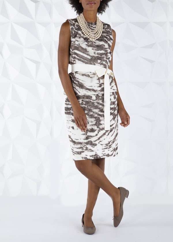 Taupe & Ivory Animal Print Silk Two Piece Dress with Ivory Ribbon Belt - Darby Scott