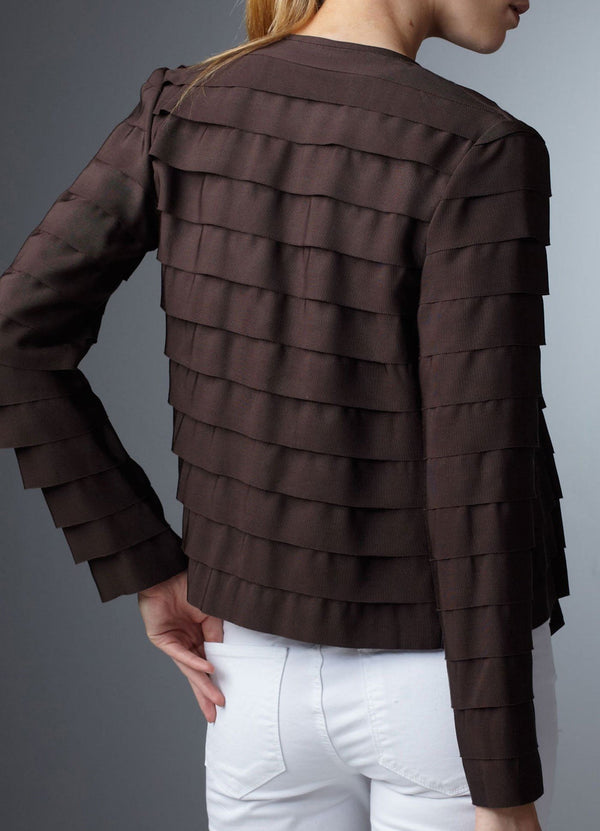 Model in Chocolate Silk Grosgrain Ribbon Jacket back view - Darby Scott--alternate