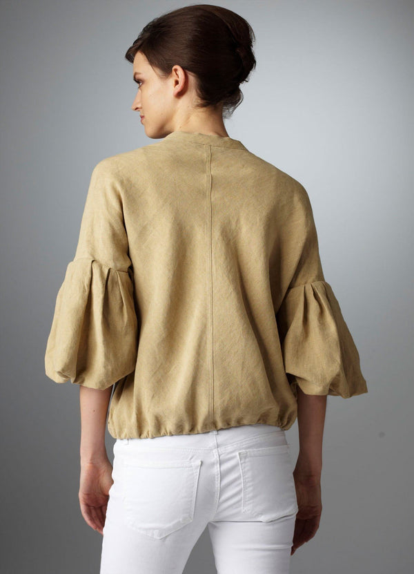 Sand Linen Bomber Jacket on model back view - Darby Scott--alternate
