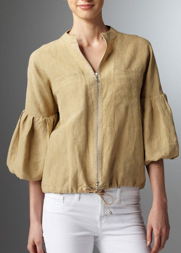 Sand Linen Bomber Jacket Bell Sleeves on model - Darby Scott
