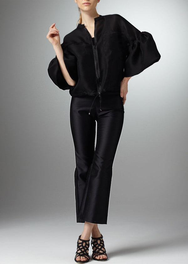 Model in Black Silk Organza Bomber Style Jacket with Bell Sleeves - Darby Scott