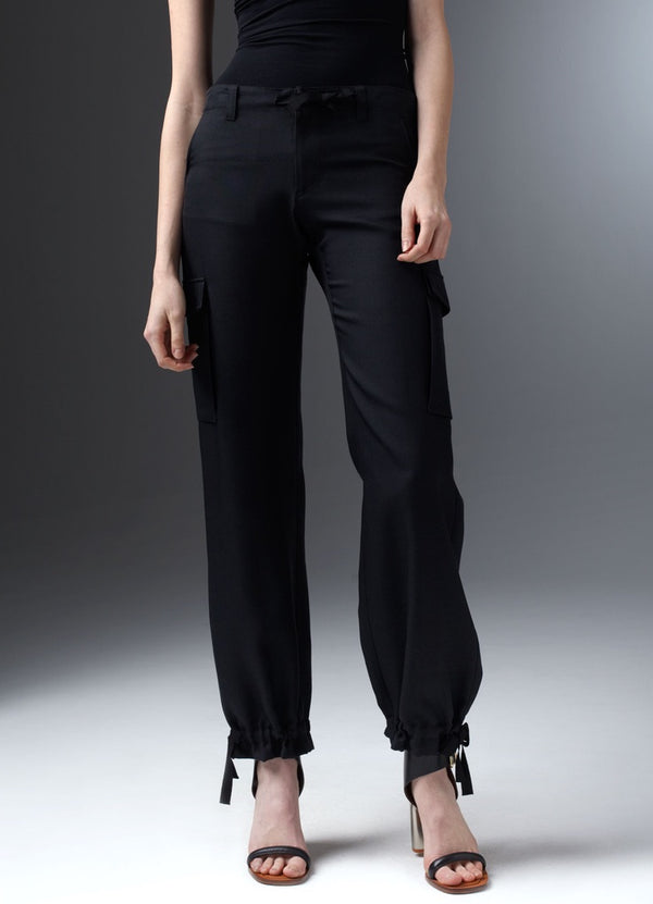 Black cargo pants with drawstring at waist and ankle - Darby Scott
