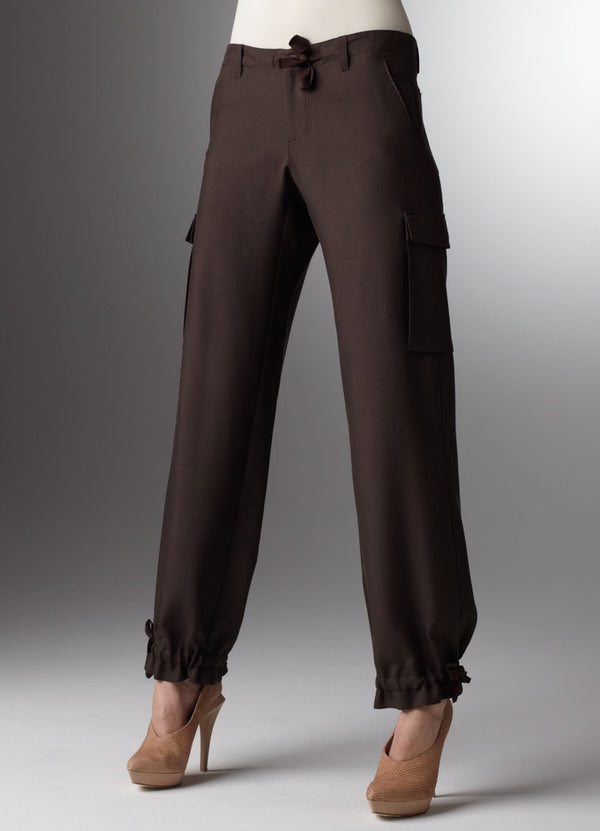 Chocolate silk dupioni cargo pants with drawstring waist and ankle - Darby Scott