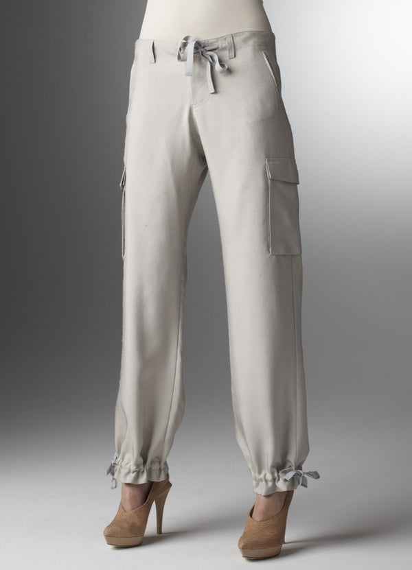 Silver silk pants with tie at waist and ankle - Darby Scott