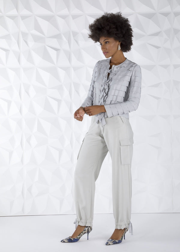 Silver Silk Cargo Pant and Ribbon Sweater - Darby Scott--alternate