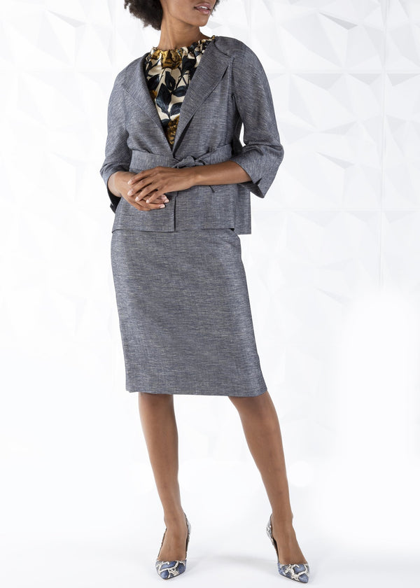 Model in Navy Silk Wool Blend Skirt Suit - Darby Scott