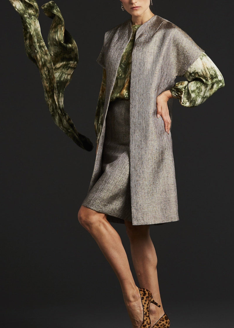 Topper Coat, Pencil Skirt & Silk Tie-Dyed Camo Blouse on model - Darby Scott