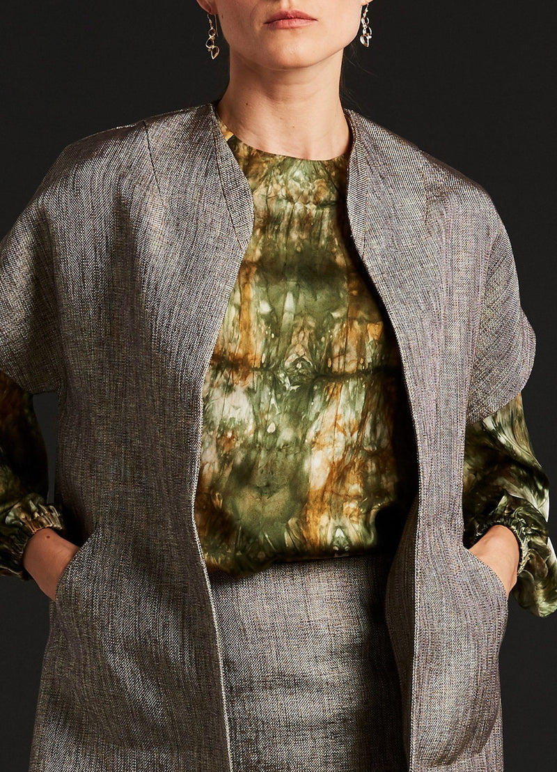 Detail of Topper Coat Suit with Tie-Dye Camo Silk Blouse - Darby Scott