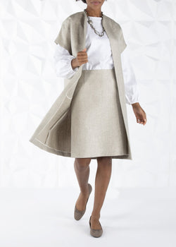 Topper Coat & white long sleeve blouse on model - Darby Scott