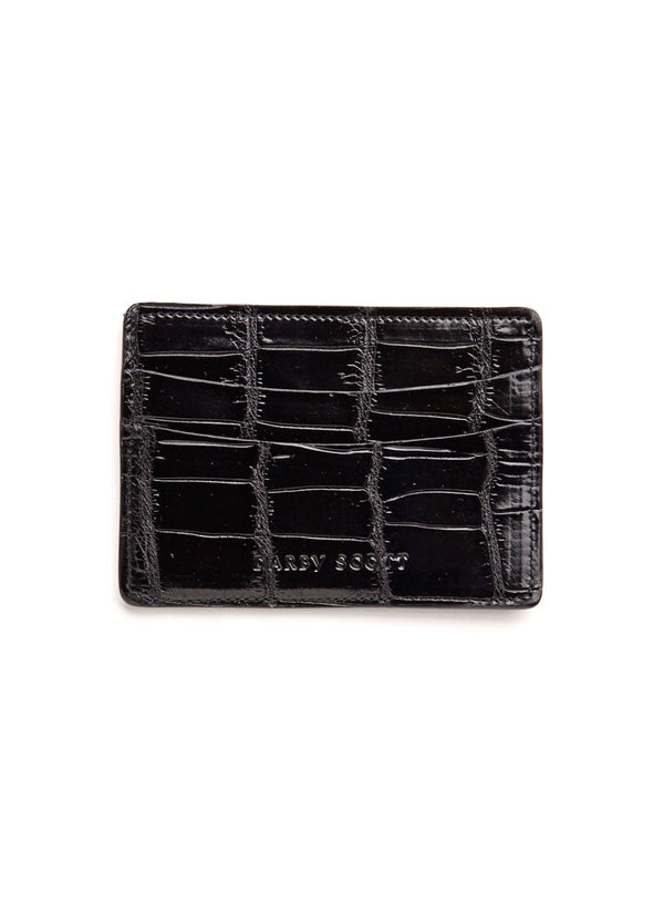 Back view Black Crocodile Credit Card Case - Darby Scott--alternate