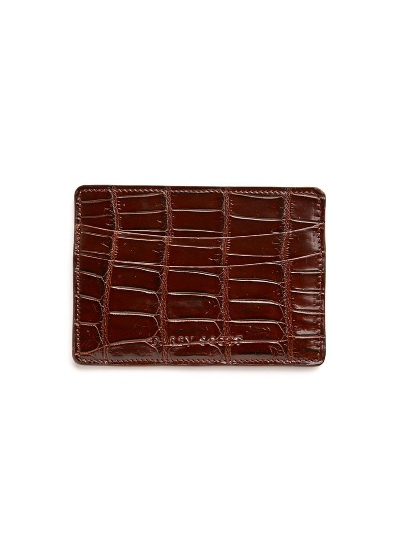 Back view Chocolate Crocodile Credit Card Case - Darby Scott
