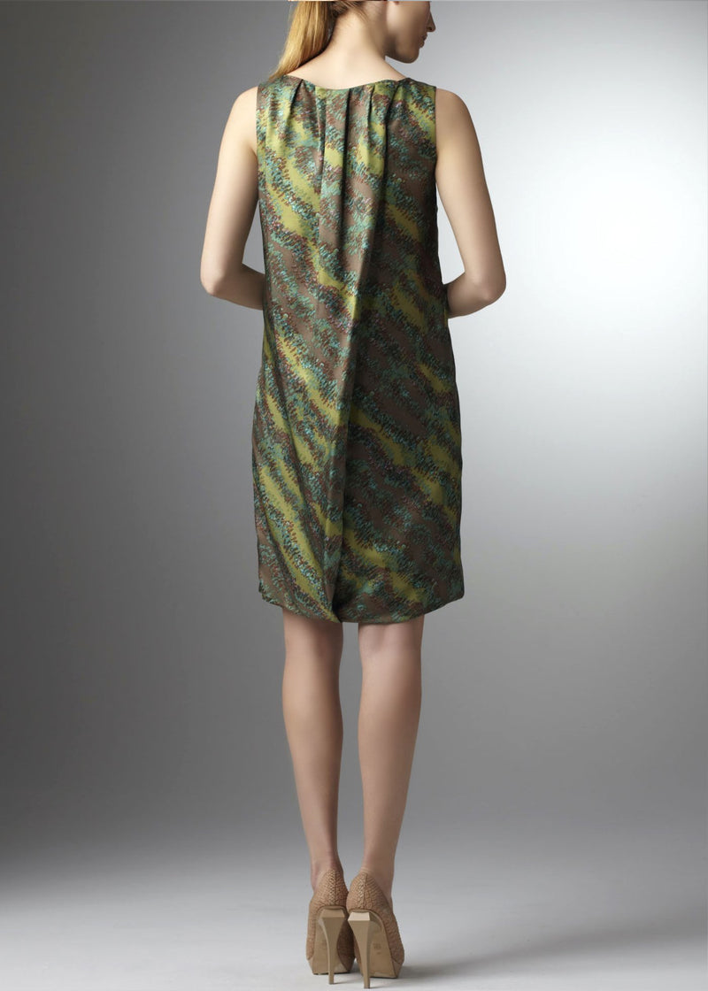 Back view of sleeveless dress is green silk faille - Darby Scott