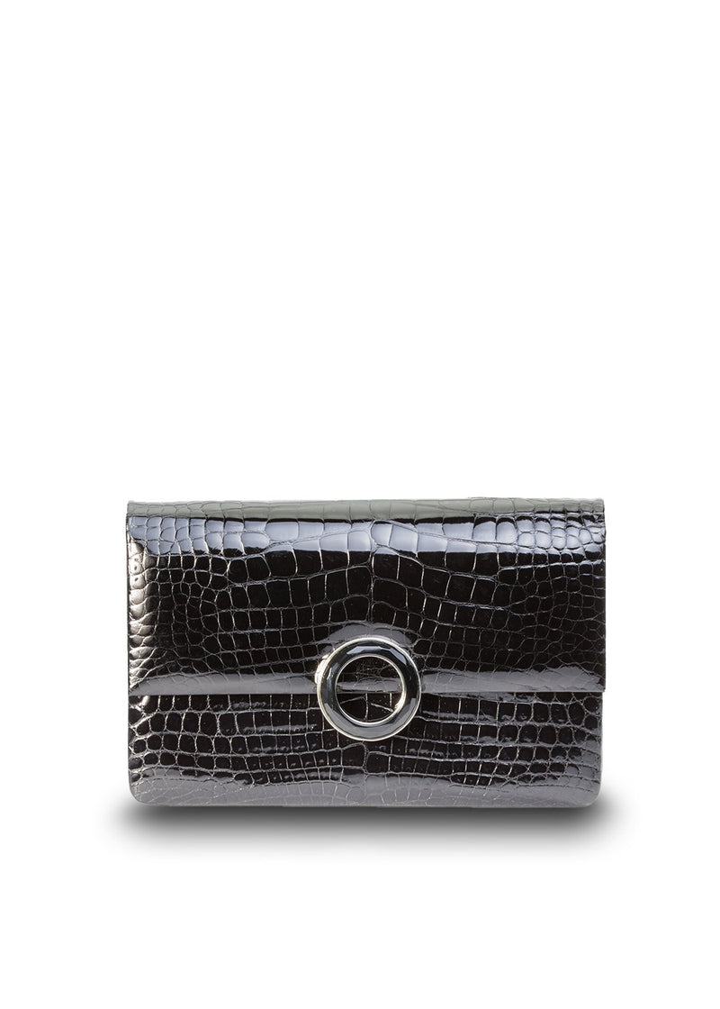 Exotic Alligator Clutch in Black with Black Onyx Grommet - Darby Scott