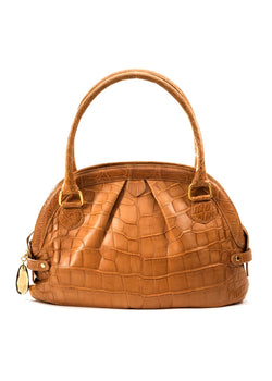 Exotic alligator pleated satchel in cognac - Darby Scott