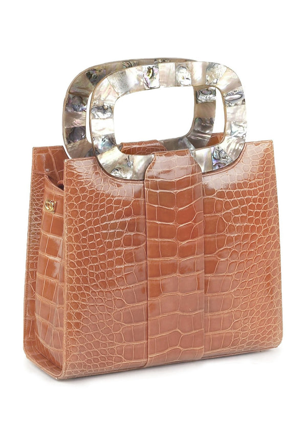 Exotic alligator Heritage top handle tote with mother of pearl inlaid handle - Darby Scott
