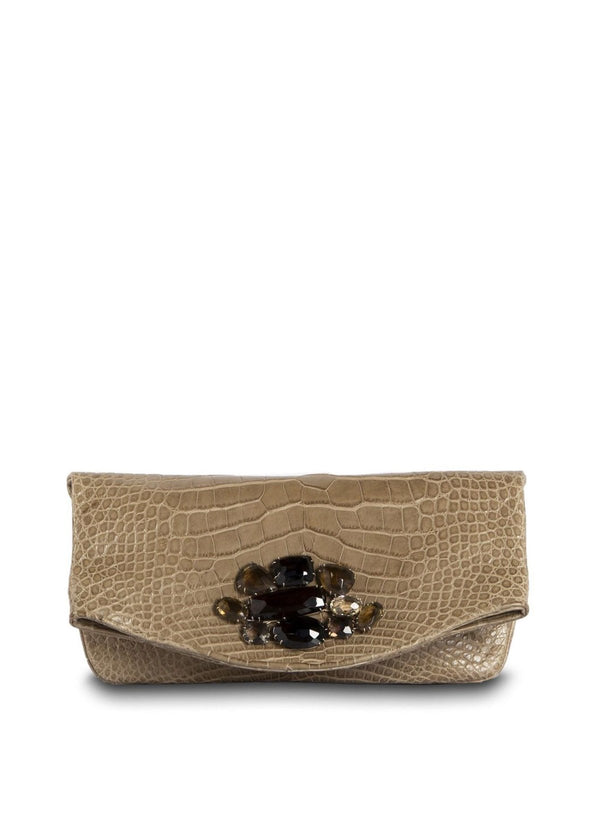 Exotic crocodile fold over clutch in light brown with smokey topaz jeweled embellishment - Darby Scott