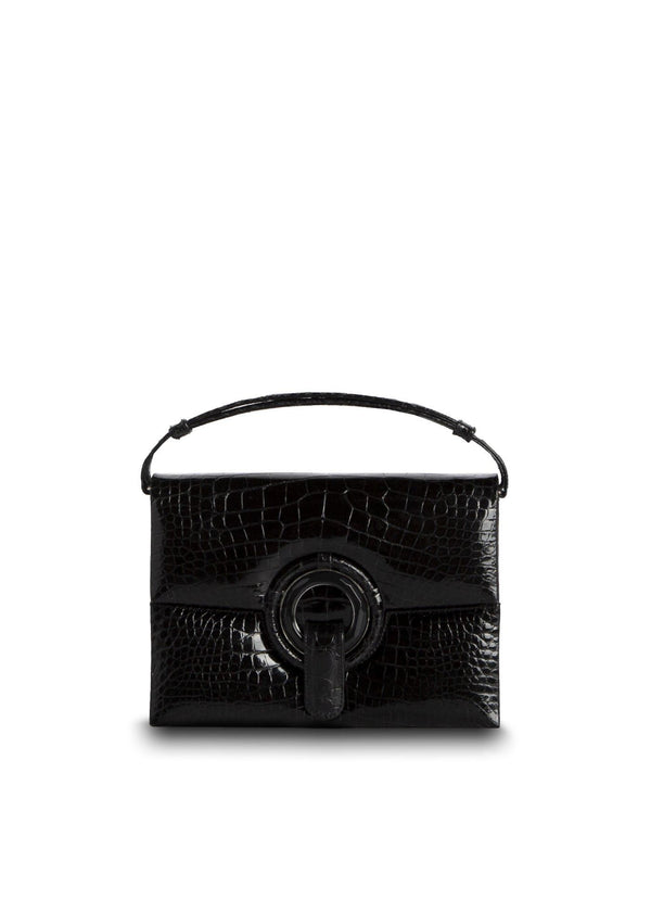 Exotic Crocodile Mini Handbag in Black with Black Onyx Grommet - Darby Scott