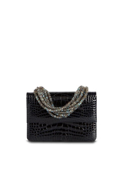 Exotic crocodile mini iconic necklace handbag in navy with labradorite handle - Darby Scott