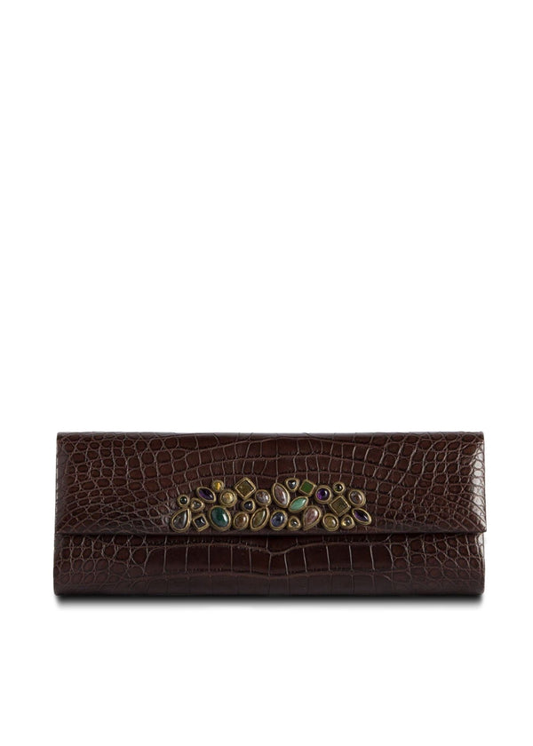 Exotic crocodile roll clutch in chocolate with gemstone mosaic embellishment - Darby Scott