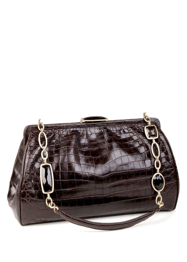 Exotic crocodile shoulder bag in chocolate with smokey topaz chain link handle - Darby Scott