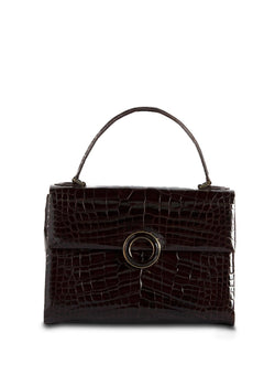 Exotic crocodile top handle lunchbox handbag in chocolate brown with smokey topaz grommet - Darby Scott