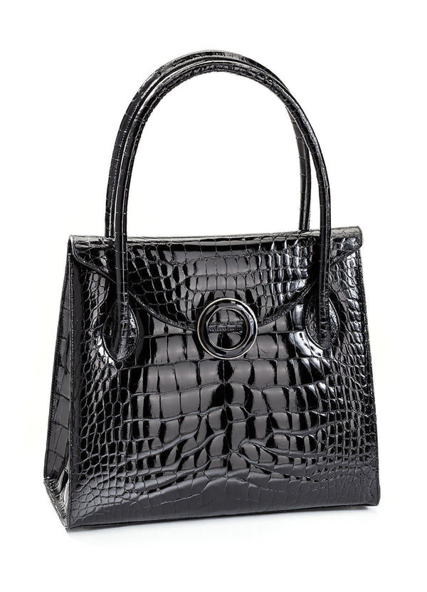Exotic Crocodile Thompson 'O' Tote in Black with Black Onyx Grommet - Darby Scott--alternate