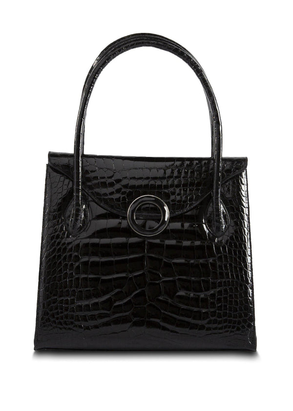 Exotic Crocodile Thompson 'O' Tote in Black with Black Onyx Grommet - Darby Scott