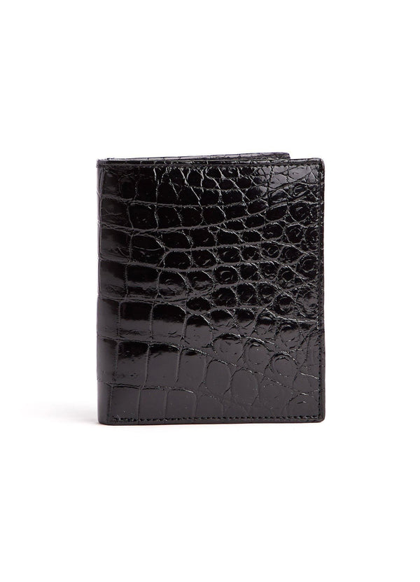 Black Exotic Crocodile Bi-Fold Euro Wallet - Darby Scott