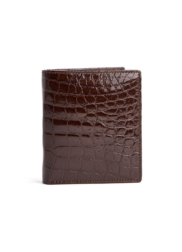 Brown Exotic Crocodile Bi-Fold Euro Wallet - Darby Scott