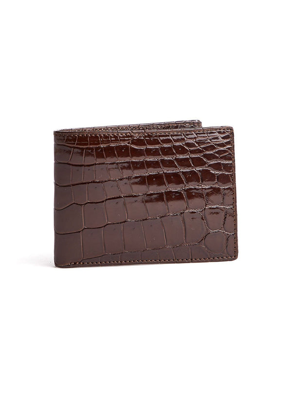 Brown Exotic  Nile Crocodile Classic Slim Bi-Fold Wallet - Darby Scott