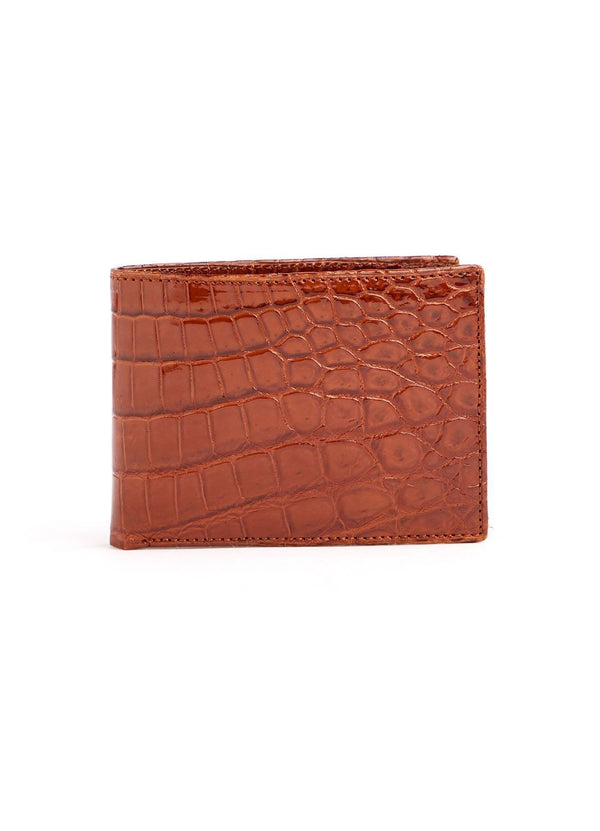 Cognac Exotic Nile Crocodile Classic Slim Bi-Fold Wallet - Darby Scott