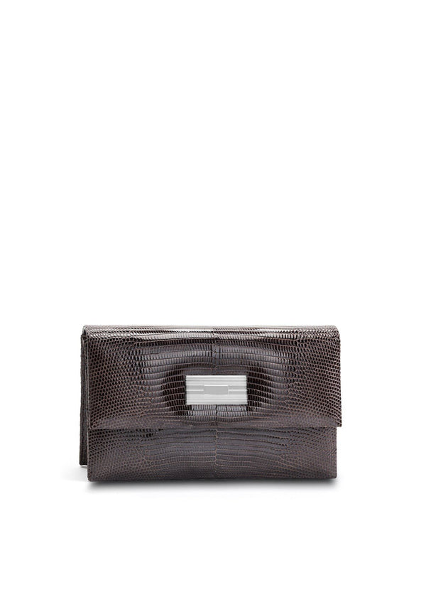 Exotic lizard mini clutch in brown with sterling silver monogram plate - Darby Scott
