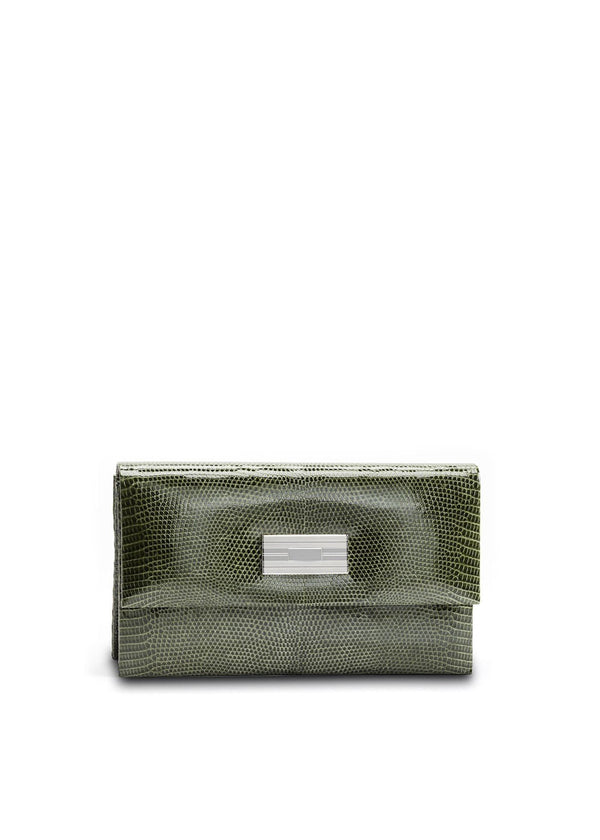 Exotic lizard mini clutch in green with sterling silver monogram plate - Darby Scott