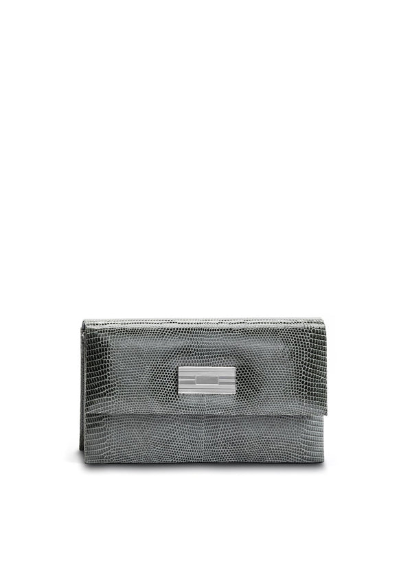 Exotic lizard mini clutch in grey with sterling silver monogram plate - Darby Scott