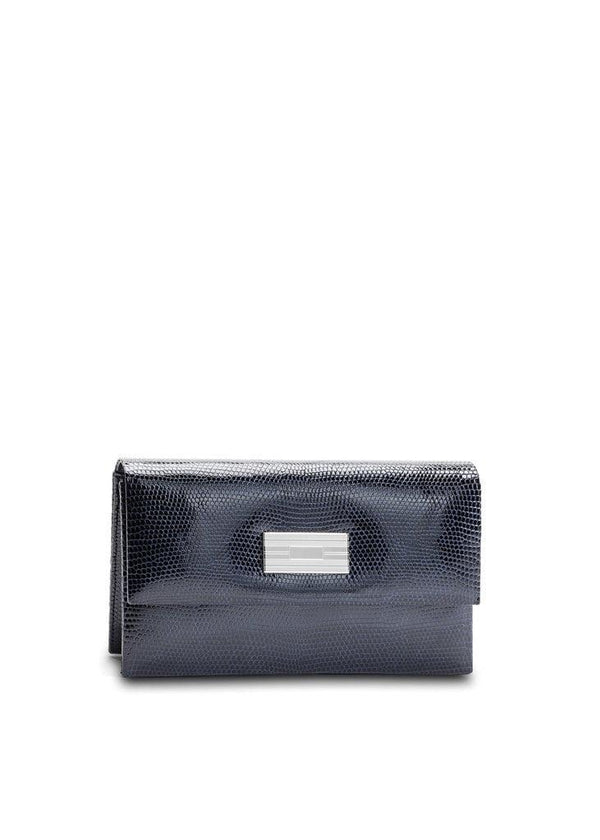 Exotic lizard mini clutch in navy with sterling silver monogram plate - Darby Scott