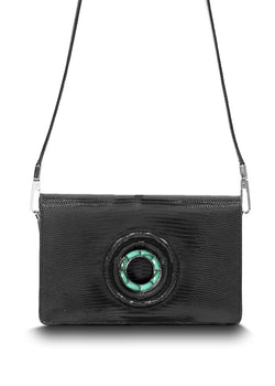 Exotic lizard Anna crossbody in black with malachite grommet - Darby Scott
