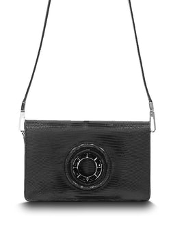 Exotic black lizard Anna crossbody with black onyx grommet - Darby Scott