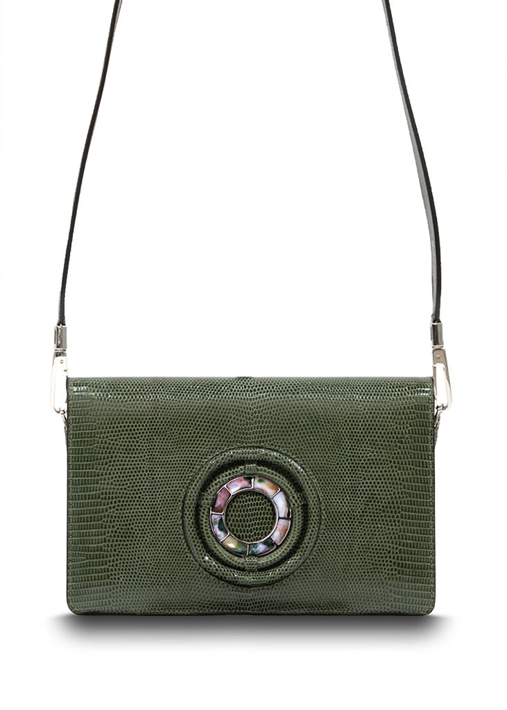 Exotic lizard Anna crossbody in green with jasper grommet - Darby Scott