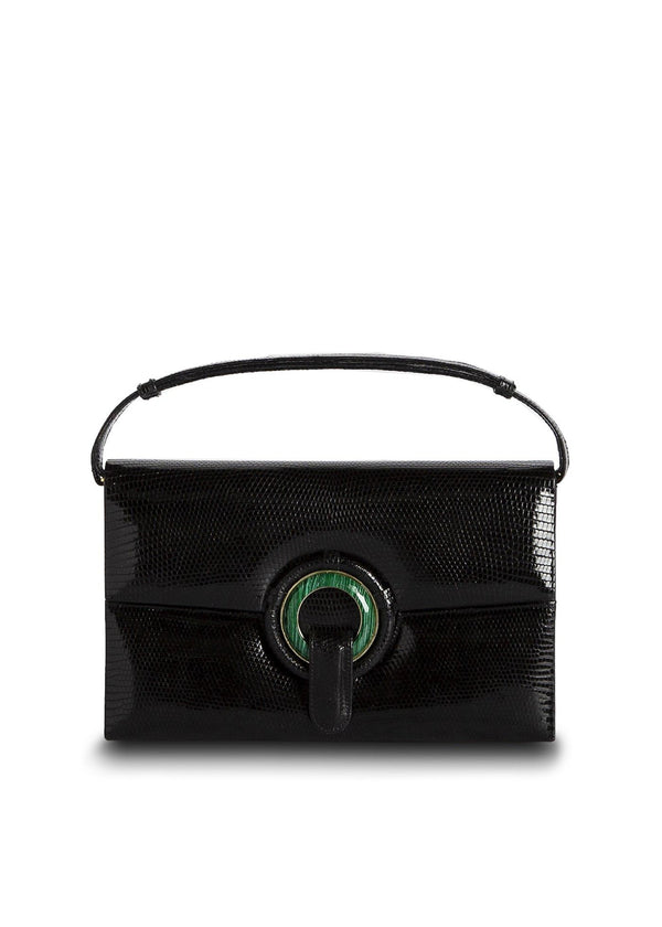 Exotic Lizard Handbag in Black with Malachite Grommet - Darby Scott