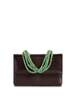 Exotic lizard iconic necklace handbag in brown with chrysoprase handle - Darby Scott