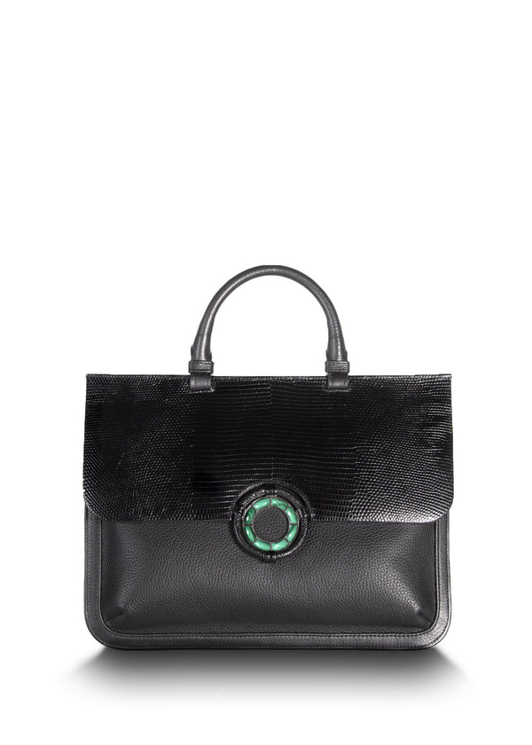 Exotic lizard & pebble leather saddle bag in black with malachite grommet - Darby Scott--alternate