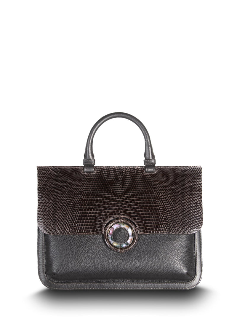 Exotic lizard & pebble leather saddle bag in dark brown with jasper grommet - Darby Scott